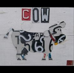 License Plate Art - How Now Black and White Cow - Farm Country Primitive - Recycled Vintage  - Salvaged Wood - Upcycled Artwork