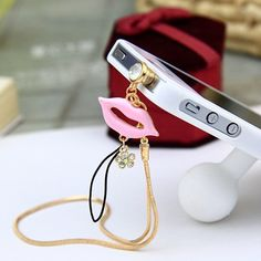 Peridot pink chain decorated lip design alloy Mobile phone products, in stock $0.89.