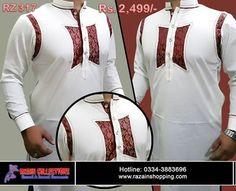Razain Collection Shalwar Kameez Latest Designs 2017 For Men Mens Shalwar Kameez, Kurta Men, Gents Kurta Design, Boys Kurta Design, African Clothing For Men, African Shirts, Mens Fashion Suits, Fashion Wear, Fashion Dresses