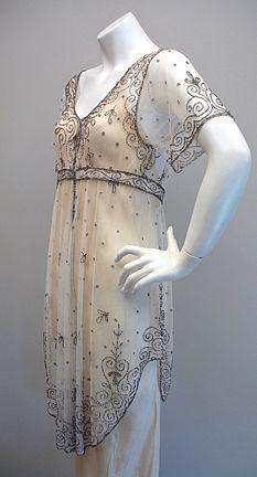 1910-12 beaded net evening tunic.