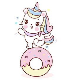 Cute Unicorn cat vector dance on cupcake donut cartoon sweet dessert pastel color, Series Girly doodles Kawaii animal illustrations isolated on white. Kid food bakery product fabulous fashion child décor cafe shop, Invitation post, t-shirt. Cute Cartoon Faces, Donut Cartoon, Cartoon Cupcakes, Cartoon Kids, Cute Unicorn, Unicorn Cat, Unicorn Images, Unicorn Pictures, Unicorn Wallpaper Cute
