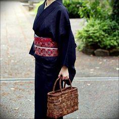 結城紬にバティックの帯 #japan #kimono #obi #tsumugi #batik #着物 #きもの #帯 #おび #結城紬 #紬 #バティック