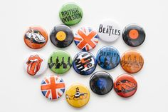 Pin Back Buttons British Invasion set of 15 by buttonsandbadges, $5.25