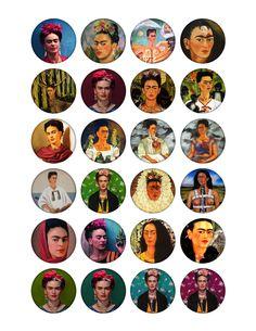 Frida Kahlo 1.5 inch circle images