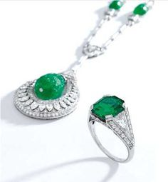 Property formerly in the Collection of Matilda Dodge Wilson Platinum, Carved Emerald and Diamond Necklace Estimate: 80,000-120,000 USD Platinum, Emerald and Diamond Ring, Cartier, New York, 1933 Estimate: 250,000-350,000 USD