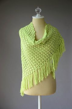 This warm-weather shawl featuring shell stitches is worked from the