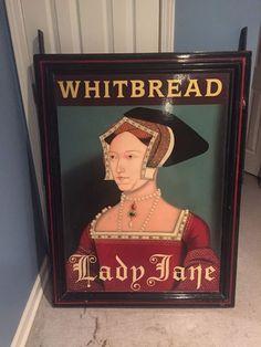 Vintage Pub Sign WHITBREAD LADY JANE English British Irish Hand Painted Tavern