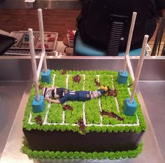 A4 Wicked Chocolate Rugby Field cake with 3D Stormers rugby player figurine, 3D goal posts, 3D rugby ball | Flickr - Photo Sharing!