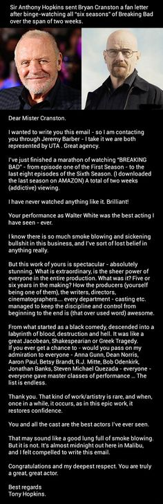 """Anthony Hopkins Sent Bryan Cranston And The Cast Of """"Breaking Bad"""" A Fan Letter"""