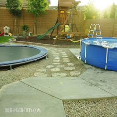 Dream backyard for kiddos: Nearly buried trampoline, small wading pool and playground. Playground area and pool subject to pool upgrade or conversion to garden / water feature / backyard chill pad as the kids go tweens! Backyard Trampoline, Backyard Playground, Backyard For Kids, Backyard Projects, Outdoor Projects, Sunken Trampoline, Desert Backyard, Backyard Plan, Garden Kids