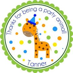 Party Animal Giraffe with Birthday Hat Personalized Stickers - Party Favor Labels, Address Labels, Birthday, Jungle, Zoo - Choice of Size. $6.00, via Etsy.