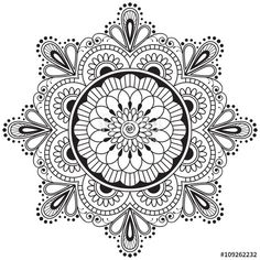 Vector: Mehndi henna Indian element flower mandala for tatoo or card.