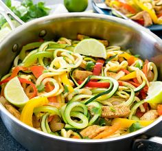 A lighter and low carb version of fajita pasta using zucchini noodles. Everything cooks in one pan for easy clean-up.