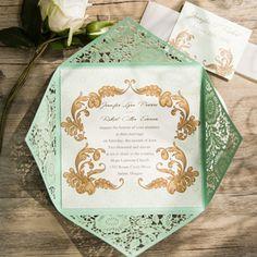 vintage mint green laser cut wedding invitations