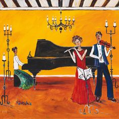 musicans by Portchie (Alice Art Gallery) Piano Art, African Paintings, South African Artists, Whimsical Art, Painting Inspiration, Home Art, Fiber Art, Hand Embroidery, Beautiful Pictures