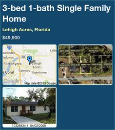 3-bed 1-bath Single Family Home in Lehigh Acres, Florida ►$49,900 #PropertyForSale #RealEstate #Florida http://florida-magic.com/properties/4806-single-family-home-for-sale-in-lehigh-acres-florida-with-3-bedroom-1-bathroom