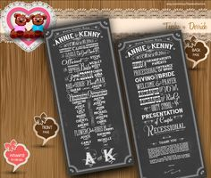 Custom Wedding Program chalk board typographic theme classic rustic cottage Typography style card clipart 3 - printable file (W0042), designed by by TeeshaDerrick at etsy.com