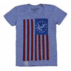 The United States Yacht Ensign. A special flag, looking like the national flag and ensign but with a fouled anchor in a circle of stars in the canton, was created by Act of Congress in August 1848 as a flag to be used by licensed U.S. yachts. Every artisan crafted Irontree Clothing T-Shirt is unique and features hand-finished details. After just a few washings, the water-based ink and fine jersey ring-spun cotton will break in to a buttery soft hand, soon becoming your new old favorite.