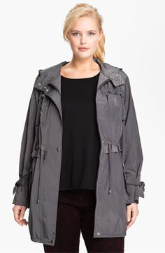 Betsey Johnson Ruffle Trim Anorak, on sale $132.66 // with any black top and some burgundy/oxblood/wine pants.