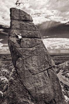 John Hinrichsen climbing in Mt Lemmon. Photo: Dan Heacock.