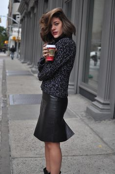 leather pencil skirt // knit // booties