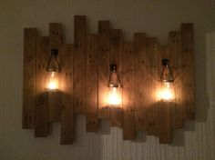 Reclaimed wood, candles for the wall