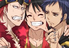 Tags: Anime, ONE PIECE, Monkey D. Luffy, Trafalgar Law, Eustass Kid, Goatee, Pixiv Id 3261094