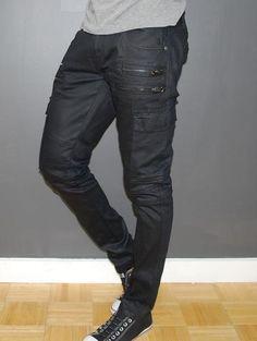 Kilogram Men Slim Fit Side Zippers Coated Cargo Jeans - Black