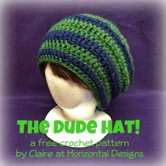 e2f597d9057 FREE crochet pattern for a fun slouchy men s hat - perfect for the dude in  your life! Coordinating scarf pattern free as well!