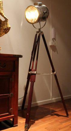 Light the way with this tripod floor lamp, inspired by the vintage marine signal lamp. www.fatshackvintage.com.au