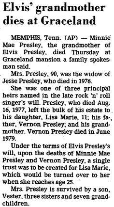 {*Elvis's Grandma Minnie Mae dies :( RIP Minnie & is also buried at Graceland long side Gladys, Elvis,Vernon*} Elvis Presley Family, Elvis Presley Photos, Graceland Mansion, Elvis Quotes, Elvis Memorabilia, Tupelo Mississippi, Heartbreak Hotel, Elvis And Priscilla, Musik