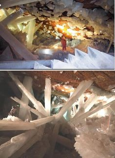 Naica Crystals Caves, Mexico~Buried a thousand feet (300 meters) below Naica mountain in the Chihuahuan Desert, the cave was discovered by two miners in 2000. The cave contains some of the largest natural crystals ever found: translucent gypsum beams measuring up to 36 feet (11 meters) long and weighing up to 55 tons.