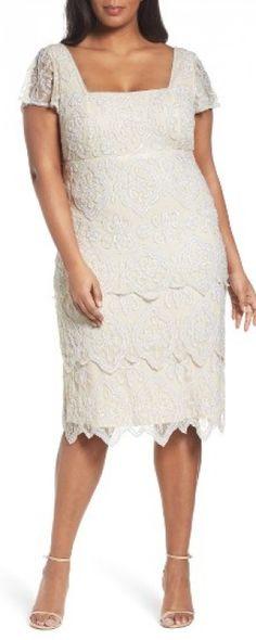 Plus Size Women's Pisarro Nights Lace Tiers Embellished Cocktail Sheath Dress, Size 14W - Brown