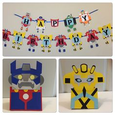 This is a handmade HAPPY BIRTHDAY BANNER inspired by Transformer rescue bots cartoon.  The banner is a compilation of high quality card stock