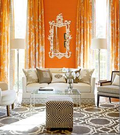Orange, grey & cream living room -- curtain fabric: 'Chinois Palais' by F. Schumacher -- Mary McDonald