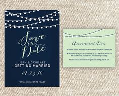 Navy Blue and Mint Green String Light Wedding Save the Date with Matching…