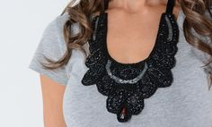 Beaded Bib necklaces can dress up a semi-nice tee for a casual office look.