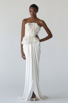 Love the draping on this dress - a less traditional option for the modern bride by Marchesa
