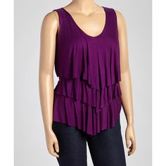 GLAM Purple Tier V-Neck Tank ($23) ❤ liked on Polyvore