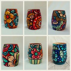 Diy Bottle, Bottle Art, Bottle Crafts, Painted Plant Pots, Painted Flower Pots, Pottery Painting Designs, Paint Designs, Fun Crafts To Do, Arts And Crafts