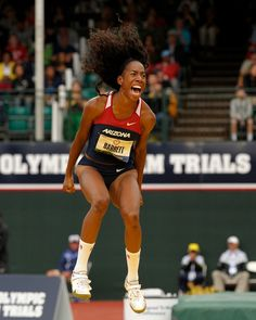 Brigetta Barrett celebrates her second place finish in women's high jump Saturday, June 30, 2012 at Hayward Field in Eugene. Headed to 2012 London Olympic. #team USA #USA women Track & Field