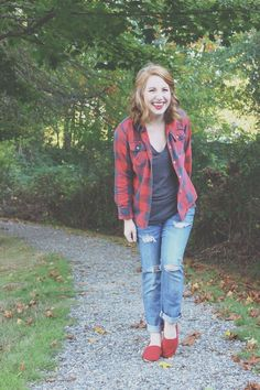 red and black plaid button up, grey v neck, boyfriend jeans, red toms, fall outfit