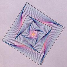 #regolo54 #geometry #symmetry #pattern #ink #handmade #string #artorart #art… 3d Art Drawing, Mandala Drawing, Mandala Art, String Art Templates, String Art Patterns, Doodle Patterns, Zentangle Patterns, Arte Linear, Art Optical
