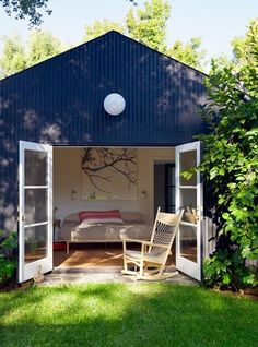 Convert an old shed into a mini guest house or art studio [ SpecialtyDoors.com ] #bedroom #hardware #slidingdoor