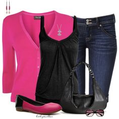 Black & Pink Colorblock, created by bitbyacullen on Polyvore