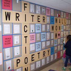 Cool writing wall display that looks like scrabble board.