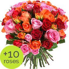Bouquet de roses colorées