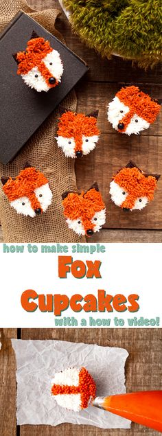 Weiße Hochzeitstorte Cupcakes Fox Cupcakes with a Simple How to Video Tolle Cupcakes, Cute Cupcakes, Cupcake Cookies, Party Cupcakes, Halloween Cupcakes, Simple Cupcakes, Easy Animal Cupcakes, Cupcake Cupcake, How To Make Cupcakes
