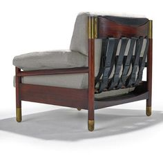 Carlo de Carli; Rosewood, Brass and Leather Lounge Chair, 1960s.