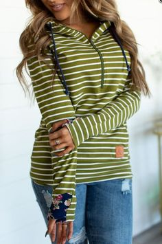 This adorable double hooded sweatshirt is the perfect lightweight hoodie to add to your closet. Featuring a diagonal zipper, and double hood, contrasting fabrics, it's perfect for the fashion savvy girl that needs to be comfortable. Ootd Fashion, Fashion Outfits, Floral Stripe, Green Stripes, Zip Ups, Cute Outfits, Hoodies, Hoodie Sweatshirts, My Style